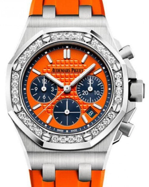 Men's Audemars Piguet Royal Oak Offshore Selfwinding Chronograph 26231ST.ZZ.D070CA.01 Orange Index Diamond Stainless Steel Rubber 37mm PRE-OWNED - Global Timez