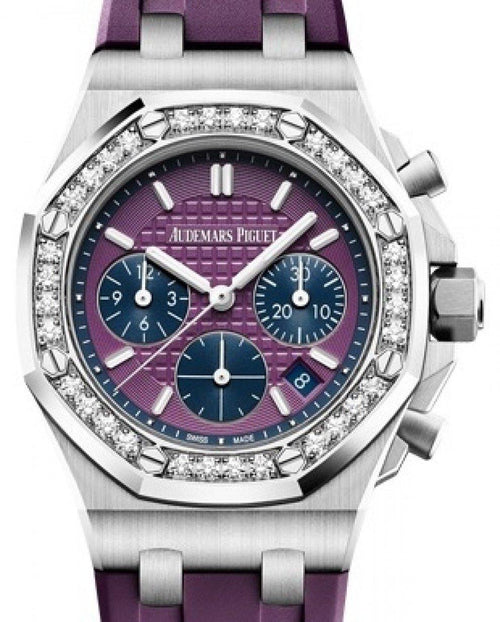 Men's Audemars Piguet Royal Oak Offshore Selfwinding Chronograph 26231ST.ZZ.D075CA.01 Purple Index Diamond Stainless Steel Rubber 37mm BRAND NEW - Global Timez