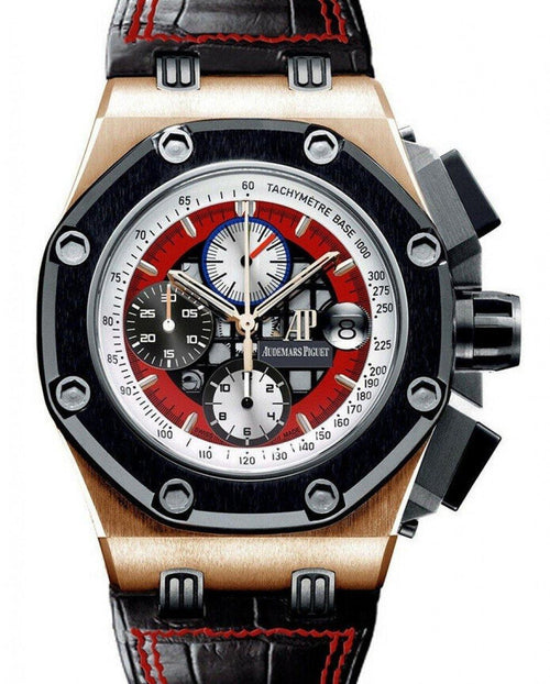 Men's Audemars Piguet Offshore Rubens Barrichello III Rose Gold Red Dial 26284RO.OO.D002CR.01 - PRE-OWNED - Global Timez