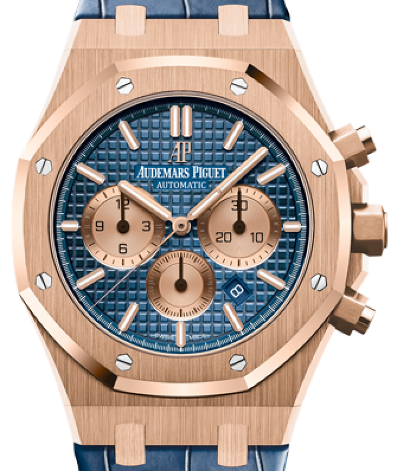 Men's Audemars Piguet Royal Oak Chronograph 26331OR.OO.D315CR.01 Blue Index Rose Gold Blue Leather 41mm - BRAND NEW