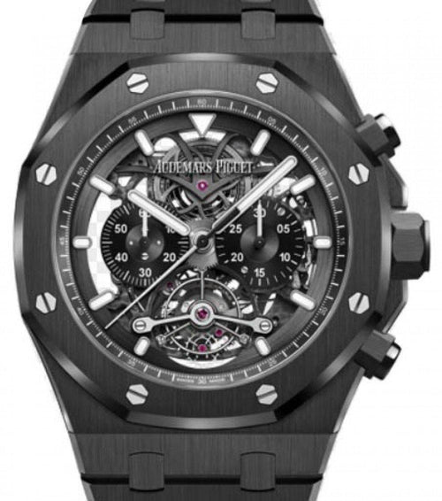 Men's Audemars Piguet Royal Oak Tourbillon Chronograph Openworked 26343CE.OO.1247CE.01 Skeleton Index Black Ceramic 44mm - BRAND NEW - Global Timez