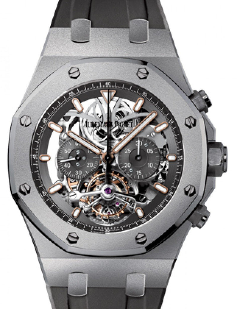 Men's Audemars Piguet 26347TI.GG.D004CA.01 Royal Oak Tourbillon Chronograph 44mm Openworked Index Titanium Rubber BRAND NEW