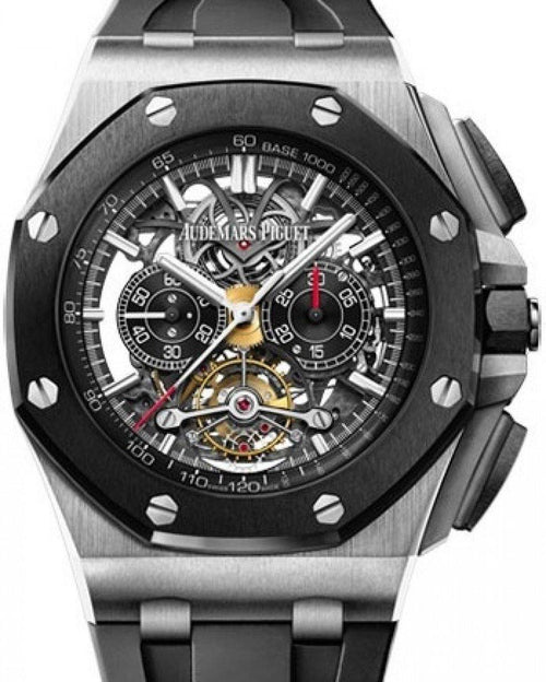 Men's Audemars Piguet Royal Oak Offshore Tourbillon Chronograph Openworked 26348IO.OO.A002CA.01 Skeleton Index Ceramic Titanium Rubber 44mm Hand-Wound - BRAND NEW - Global Timez