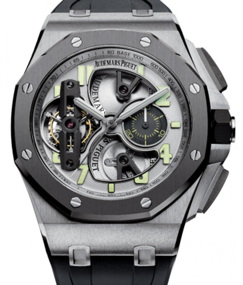 Men's Audemars Piguet 26387IO.OO.D002CA.01 Royal Oak Offshore Tourbillon Chronograph 44mm Silver Skeleton Arabic Titanium Rubber BRAND NEW