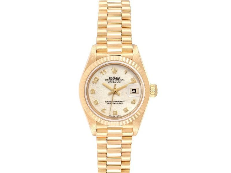 Ladies Rolex President Datejust Yellow Gold Anniversary Dial Ladies Watch 69178 PRE-OWNED