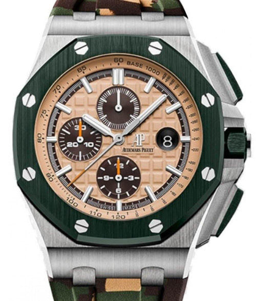 Men's Audemars Piguet Royal Oak Offshore Selfwinding Chronograph 26400SO.OO.A054CA.01 Beige Index Green Ceramic Stainless Steel Rubber 44mm - BRAND NEW - Global Timez