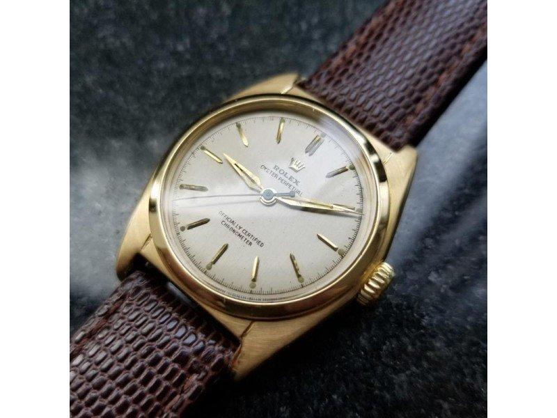 Men's ROLEX Midsize 18K Solid Gold Oyster Perpetual 6050 Automatic, C.1948 Swiss LV794 PRE-OWNED