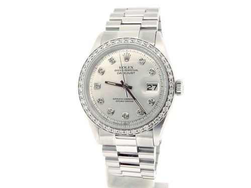 Men's Rolex Stainless Steel Datejust Silver Diamond PRE-OWNED - Global Timez