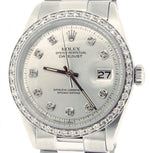 Men's Rolex Stainless Steel Datejust Silver Diamond PRE-OWNED