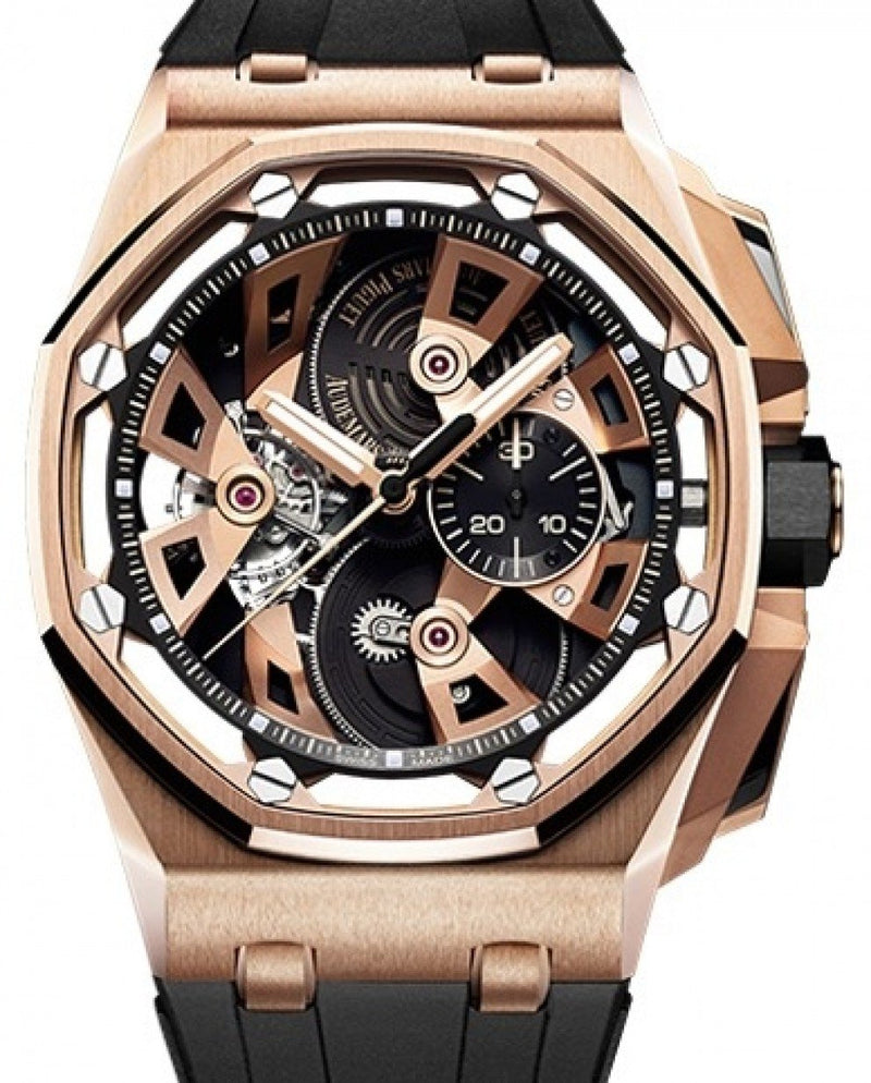Men's Audemars Piguet Royal Oak Offshore Tourbillon Chronograph 26421OR.OO.A002CA.01 Black Rose Gold Rubber Manual 45mm BRAND NEW