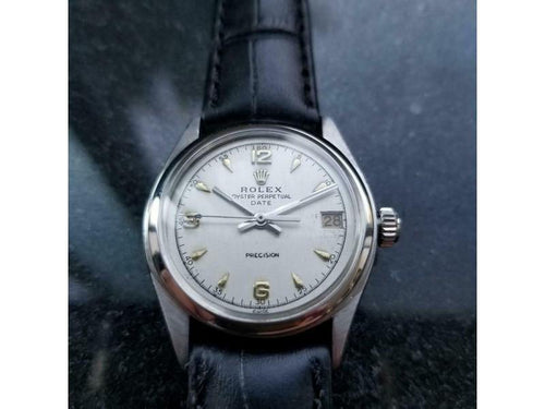 Men's  Rolex Oyster Perpetual Date Ref.6066 30mm Manual-Wind C.1950s SIW141BLK PRE-OWNED - Global Timez