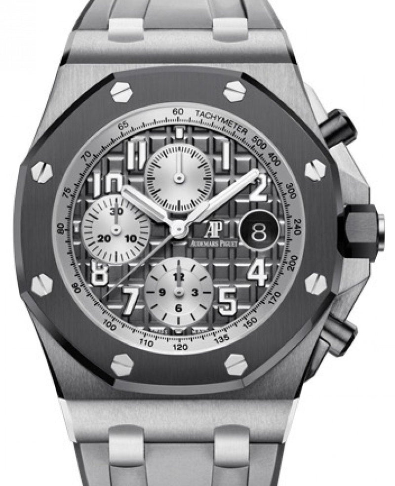 "Men's Audemars Piguet Royal Oak Offshore ""Ghost"" Selfwinding Chronograph 26470IO.OO.A006CA.01 Slate Arabic Titanium Rubber 42mm BRAND NEW"
