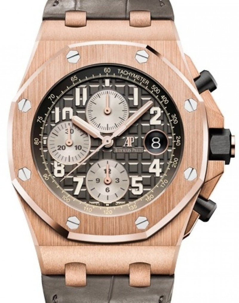 Men's Audemars Piguet Royal Oak Offshore Selfwinding Chronograph 26470OR.OO.A125CR.01 Grey Arabic Rose Gold Leather 42mm BRAND NEW
