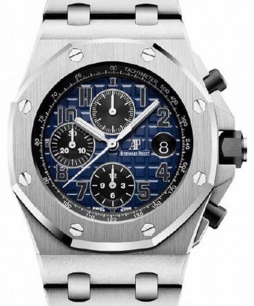 Men's Audemars Piguet Royal Oak Offshore Selfwinding Chronograph 26470PT.OO.1000PT.02 Blue Arabic Platinum 42mm BRAND NEW - Global Timez