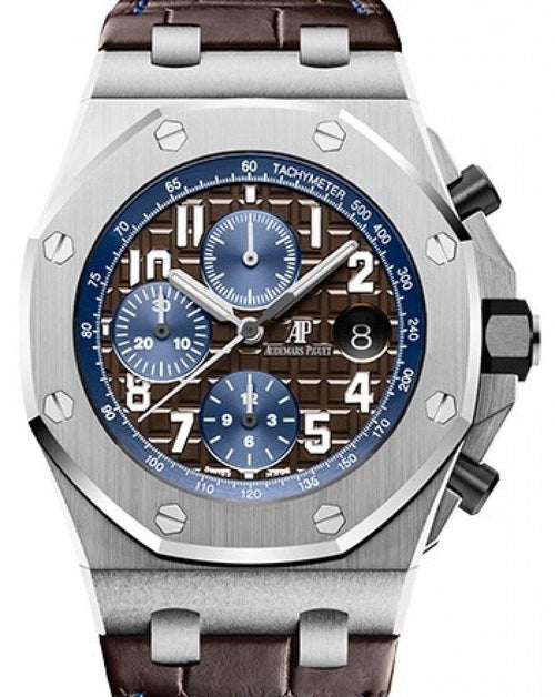 Men's Audemars Piguet Royal Oak Offshore Selfwinding Chronograph 26470ST.OO.A099CR.01 Brown Arabic Stainless Steel Leather 42mm BRAND NEW - Global Timez
