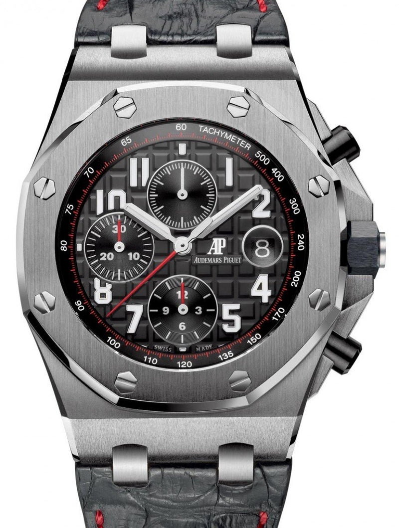 Men's Audemars Piguet 26470ST.OO.A101CR.01 Royal Oak Offshore Chronograph 42mm Black Arabic Stainless Steel Leather Automatic PRE-OWNED