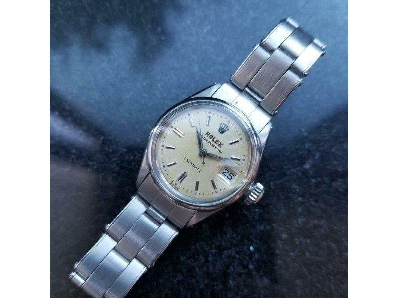 Ladies Rolex 1950s Ladies 25mm Oyster Perpetual Ladydate 6516 Automatic Stainless LV611 PRE-OWNED
