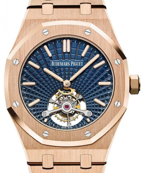 Men's Audemars Piguet Royal Oak Tourbillon Extra-Thin 26522OR.OO.1220OR.01 Blue Index Pink Gold 41mm - BRAND NEW - Global Timez