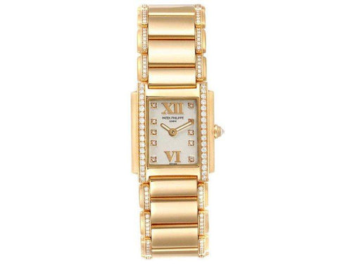 Ladies Patek Philippe Twenty-4 Small 18K Rose Gold Diamond Ladies Watch 4908 PRE-OWNED - Global Timez