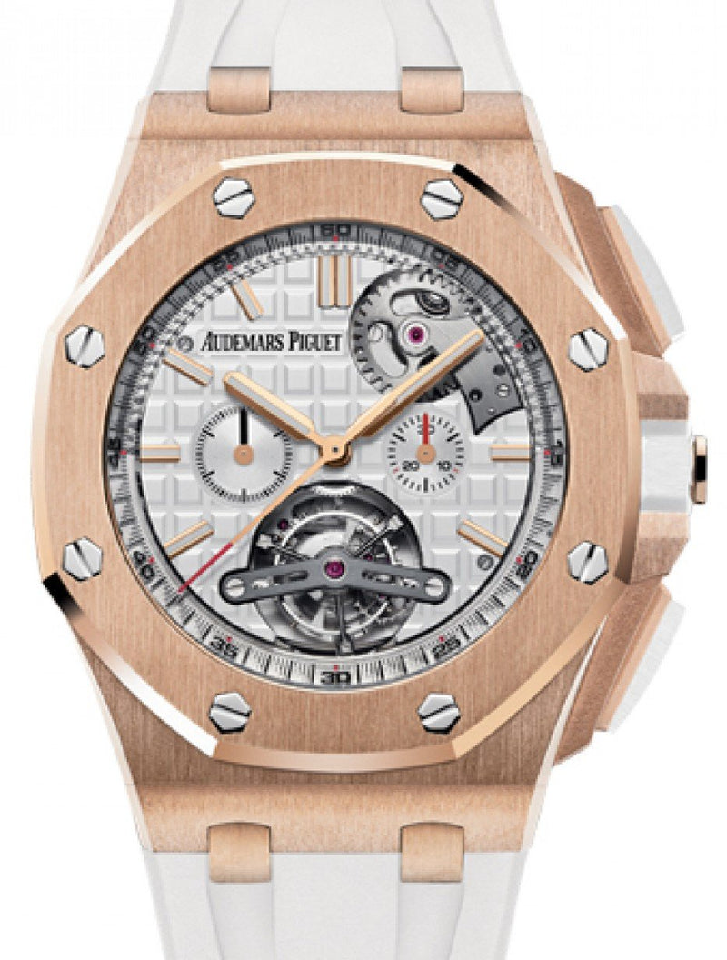 Men's Audemars Piguet 26540OR.OO.A010CA.01 Royal Oak Offshore Tourbillon Chronograph Selfwinding 44mm Silver Index Rose Gold Rubber BRAND NEW