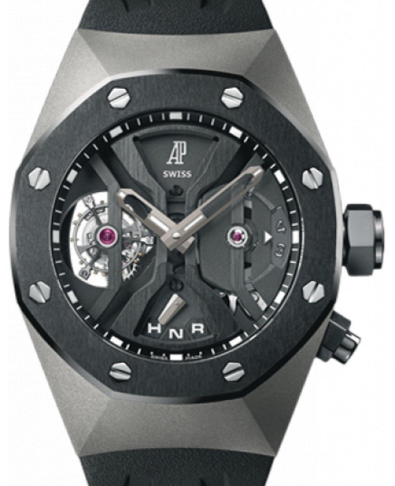 Men's Audemars Piguet 26560IO.OO.D002CA.01 Royal Oak Concept GMT Tourbillon 44mm Openworked Black Ceramic Titanium Rubber BRAND NEW