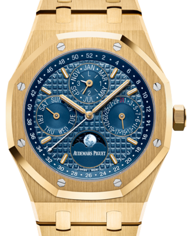 Men's Audemars Piguet 26574BA.OO.1220BA.01 Royal Oak Perpetual Calendar 41mm Blue Index Yellow Gold BRAND NEW