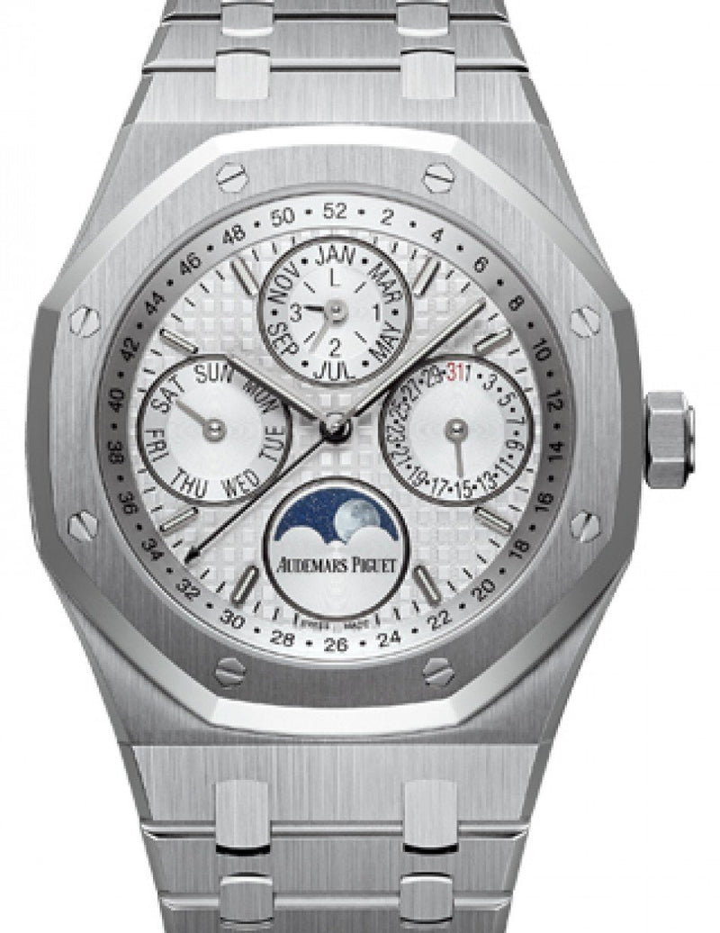 Men's Audemars Piguet 26574ST.OO.1220ST.01 Royal Oak Perpetual Calendar 41mm Silver Index Stainless Steel BRAND NEW