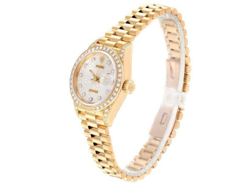 Ladies Rolex President Yellow Gold Anniversary Dial Diamond Ladies Watch 69158 PRE-OWNED - Global Timez