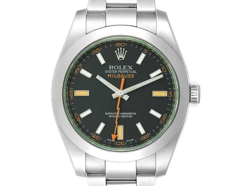 Men's Rolex Milgauss Black Dial Green Domed Bezel Crystal Mens Watch 116400V PRE-OWNED - Global Timez