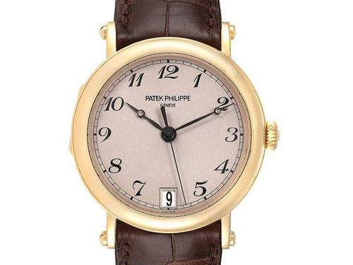 Men's Patek Philippe Calatrava Officier Yellow Gold Mens Watch 5053 Papers PRE-OWNED - Global Timez