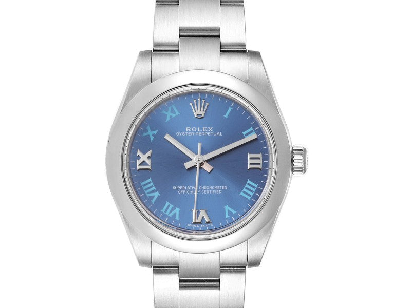 Ladies Rolex Oyster Perpetual Midsize 31 Blue Dial Ladies Watch 177200 Box Card PRE-OWNED