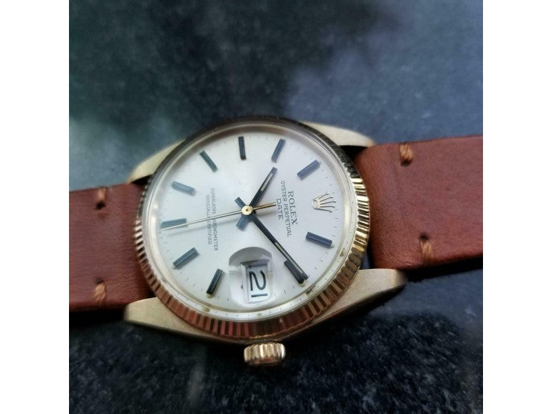 Men's ROLEX  14K Gold Oyster Date 1503 Automatic, C.1978 Swiss Vintage LV688TAN PRE-OWNED