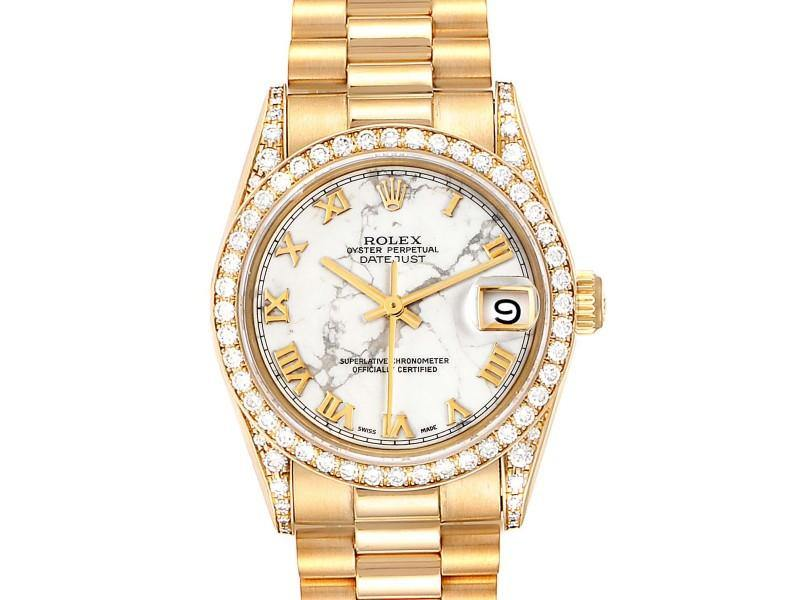 Ladies Rolex President Midsize Marble Dial Yellow Gold Diamond Ladies Watch 68158 PRE-OWNED