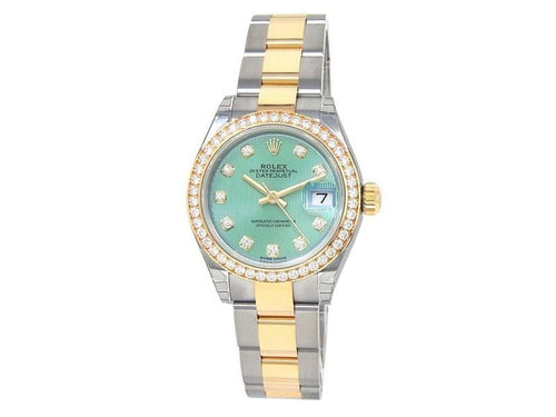 Ladies Rolex Datejust 18k Yellow Gold Steel Diamonds Automatic Green Watch 279383RBR BRAND NEW - Global Timez