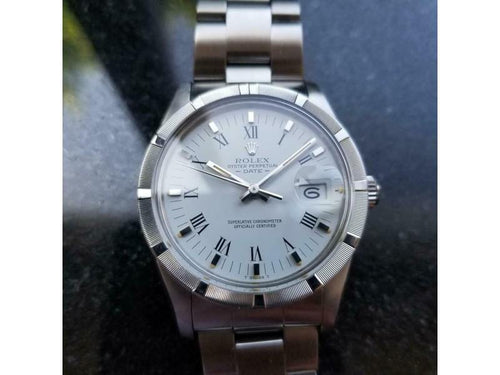 Men's ROLEX  Oyster Perpetual Date 15010 Automatic W/Paper, C.1984 Swiss MS136 PRE-OWNED - Global Timez