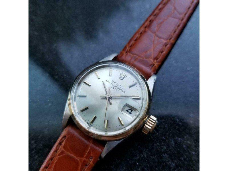 Ladies Rolex 14k & SS Oyster Perpetual Date Ref.6516 Automatic, C.1960s MS158BRN PRE-OWNED - Global Timez