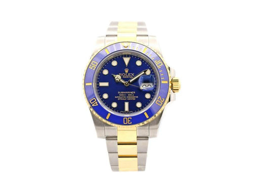 Men's  Rolex Submariner Date, 40mm, Steel, 18k Yellow Gold, Blue Dial, 116613LB PRE-OWNED - Global Timez