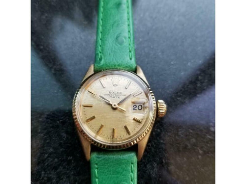 Ladies Rolex Oyster Date Ref.6516 25mm 18k Gold Automatic, C.1960s LV859GRN PRE-OWNED - Global Timez