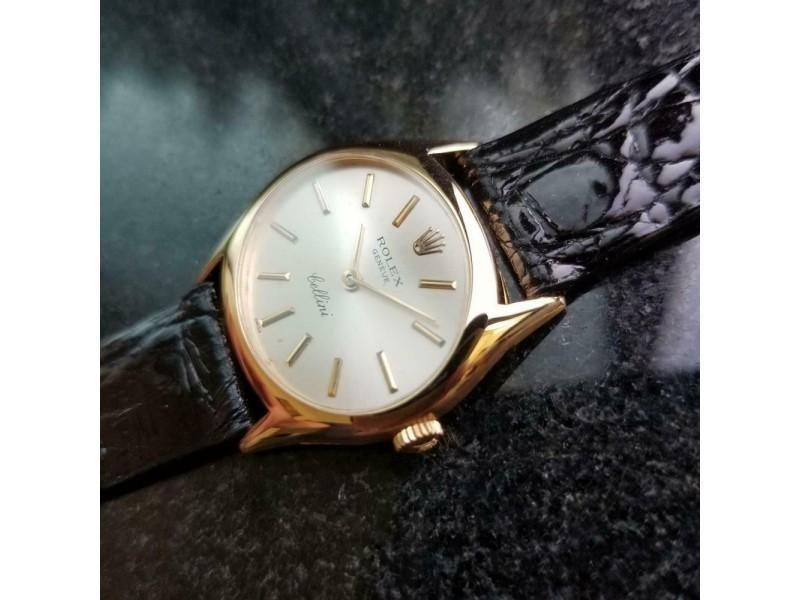Ladies Rolex Cellini Geneve Ref.3802 27mm 18k Gold Manual-Wind, C.1970s LV873BLK PRE-OWNED - Global Timez