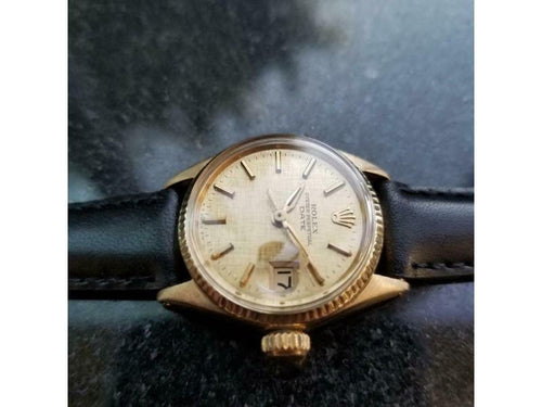Ladies Rolex Oyster Perpetual Date Ref.6516 25mm 18k Gold Automatic 1960s LV859 PRE-OWNED - Global Timez