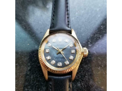 Ladies Rolex Oyster Perpetual Ref.6619 25mm 18k Gold Automatic, C.1960s LV875BLK PRE-OWNED - Global Timez