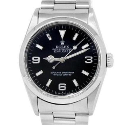 Men's Rolex Explorer Stainless Steel Oyster Automatic Black  Watch 14270 PRE-OWNED - Global Timez