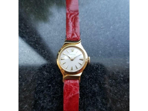 Ladies Rolex Ladies 1950s 18K Solid Gold 9632 17mm Vintage Cocktail Watch Swiss LV559 PRE-OWNED - Global Timez