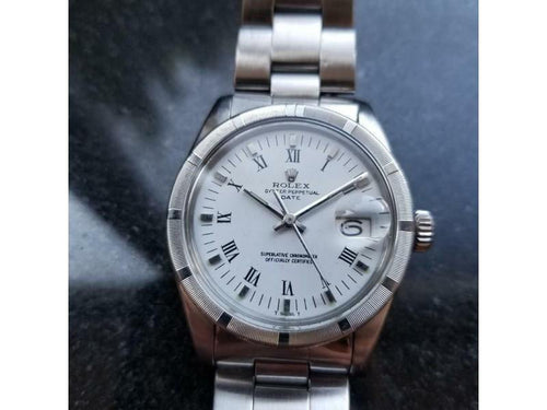 Men's Rolex Mens Stainless 1970s 35mm Oyster Perpetual Date 1501 Automatic Watch MS129 PRE-OWNED - Global Timez