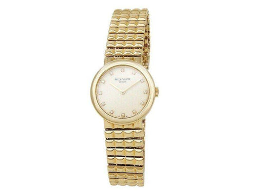 Ladies Patek Philippe Calatrava 18k Yellow Gold Diamonds Cream Ladies Watch 4747/001 PRE-OWNED - Global Timez