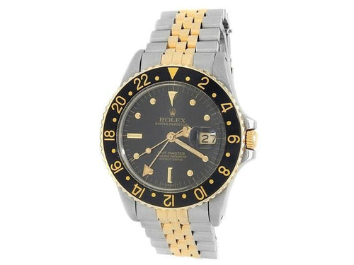 Men's Rolex GMT-Master 18k Yellow Gold Steel Jubilee Automatic Black  Watch 16753 PRE-OWNED - Global Timez