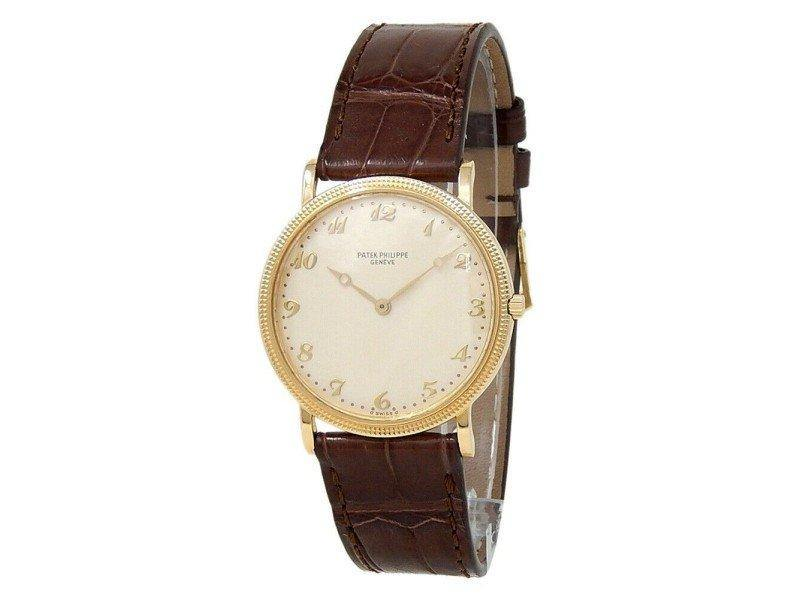 Ladies Patek Philippe Calatrava 18k Yellow Gold Leather Champagne Ladies Watch 3520D PRE-OWNED - Global Timez