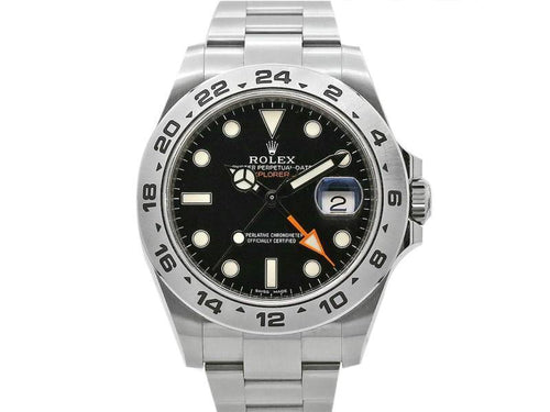 Men's Rolex Explorer II, 42mm, Stainless Steel, Black Dial, 216570 PRE-OWNED - Global Timez