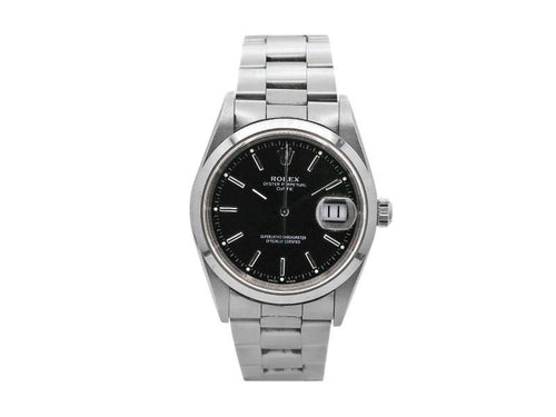 Men's Rolex Oyster Perpetual Date 34mm Stainless Steel With Black Index Dial, 15200 PRE-OWNED - Global Timez