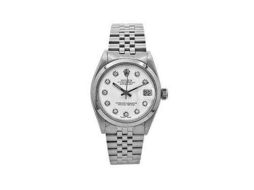 Ladies Rolex Rolex Datejust 31, Stainless Steel, White Diamond Dial, 6824 PRE-OWNED - Global Timez